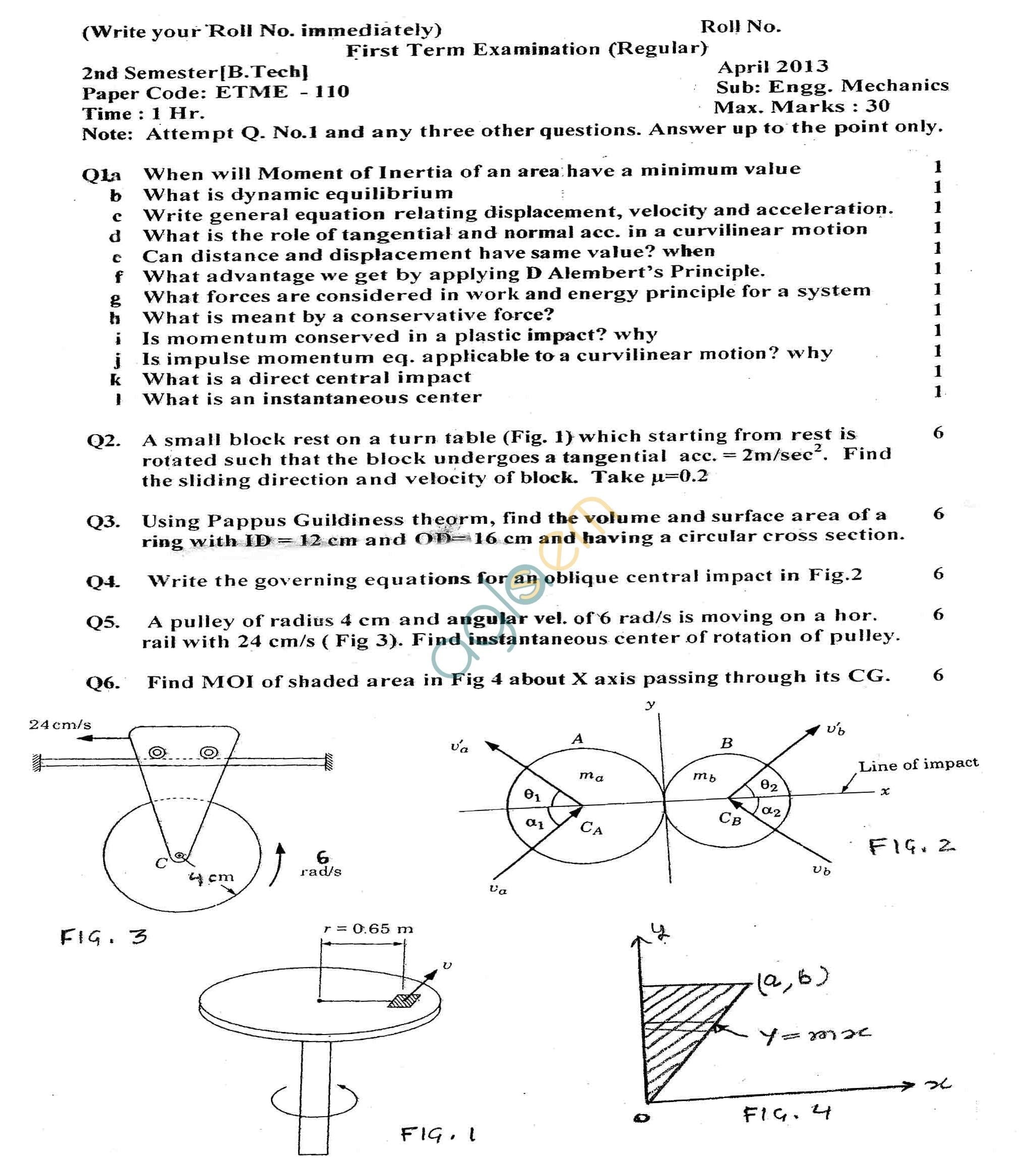 GGSIPU Question Papers Second Semester – Second Term 2013 – ETME-110