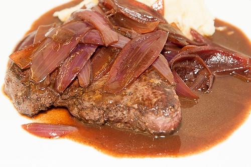 Venison steak, stewed red onions, mash