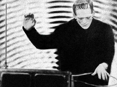 Boris Karloff playing the Theremin