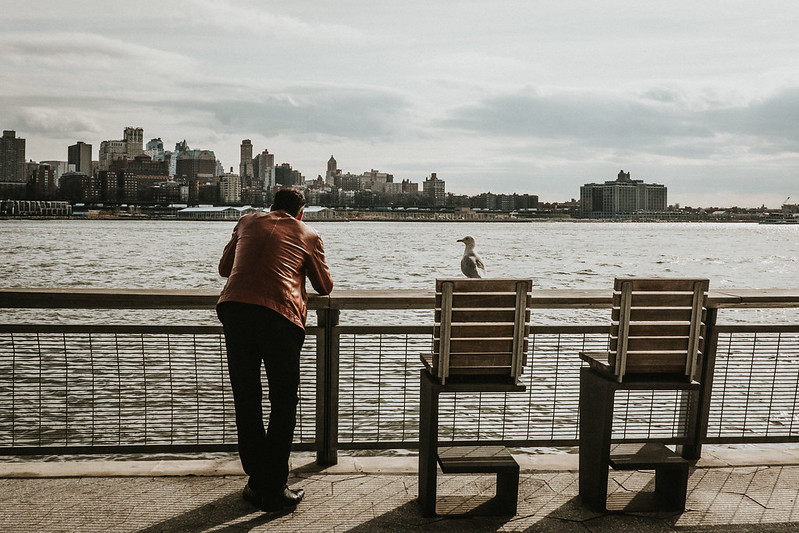 A seagull is perched on the rail beside a man in a cognac colored leather jacket leaning on the railinga nd looking at the city skyline across the channel of water.