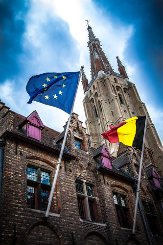 Bruges Our Lady Cathedral Belgium European Union Flag