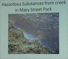Hazardous Substances from creek in Mary Street Park