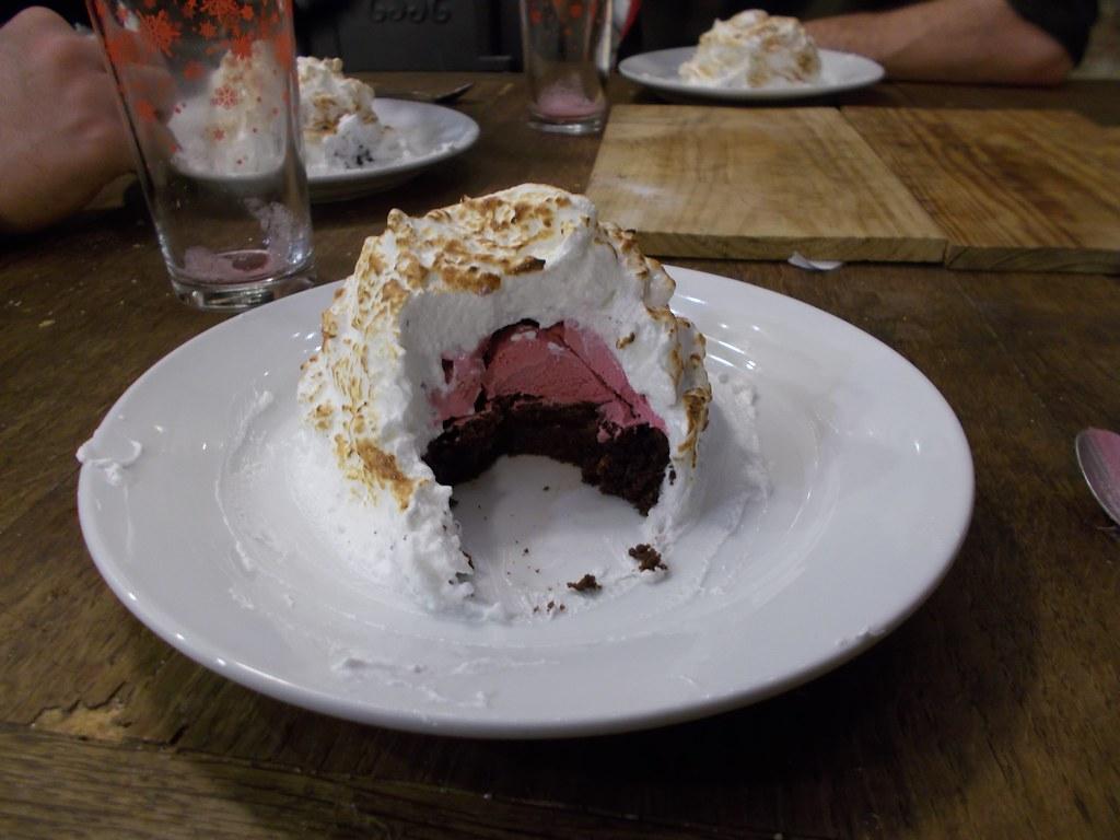 blackcurrant ice-cream chocolate brownie baked Alaska