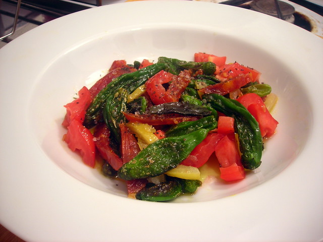 Shishito peppers, with Spanish chorizo, heirloom tomato and preserved lemon