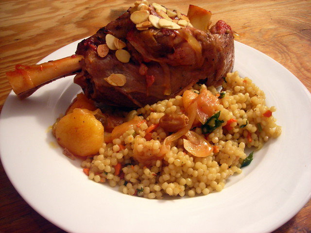 Lamb shanks with apricots, honey and cardamom; Israeli couscous