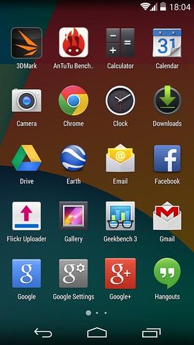 App tray ของ LG Nexus 5