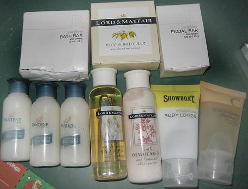 20120922 - yardsale booty - travel-sized shampoos, conditioner, lotion, soap - IMG_4906
