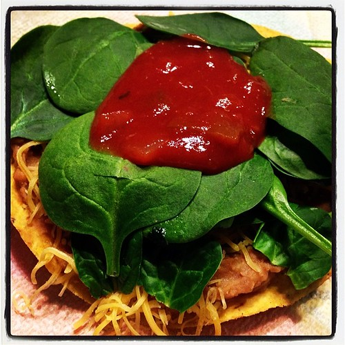 The best dinner ever for #meatlessmonday.  The kids absolutely loved the tostadas.  I added more spinach on mine because I love it!  @fitapproach @lornajaneactive #mnbchallenge #sweatpink #lornajane #healtyliving