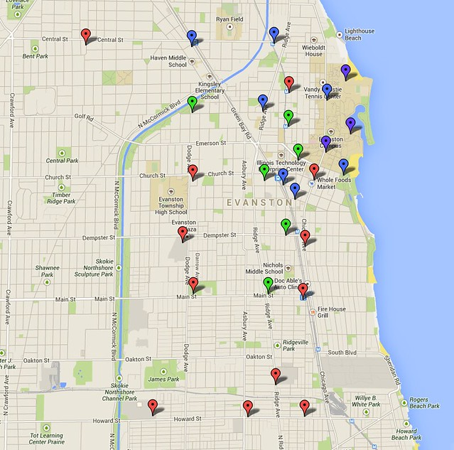 Proposed Evanston Divvy stations in Blue