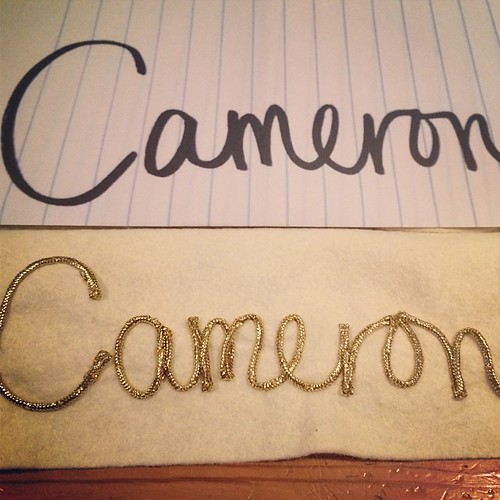 Christmas stocking lettering in Cameron's mom's writing.