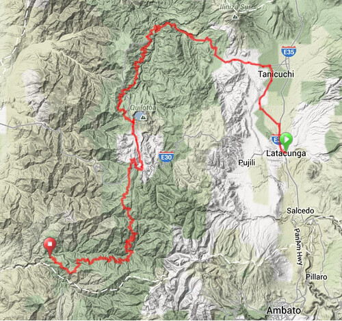 Map - Latacunga to El Corazon1