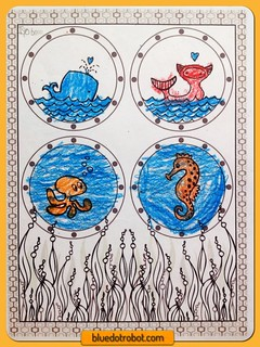 Seasational Sealife, coloring by Isabelle