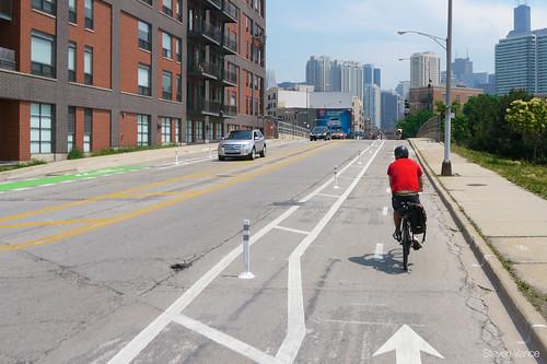 Milwaukee Avenue, with bollards - photo by Steven Vance