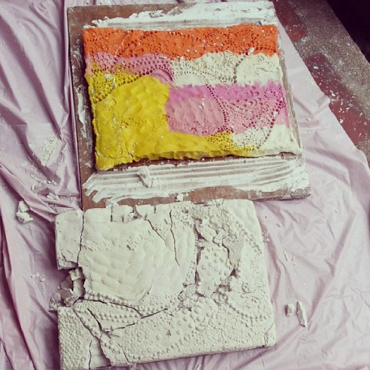 Plaster bas relief ruins. Major fail. Huhu. Back to square one. Flu go away!