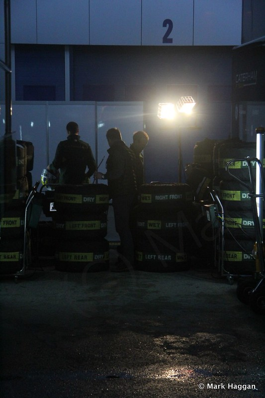 The Caterham tyre team have an early start at Formula One Winter Testing 2014