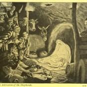 """Phillip Medhurst presents 415/740 James Tissot Bible c 1900 The adoration of the shepherds from """"La Vie de Notre Seigneur Jésus Christ"""