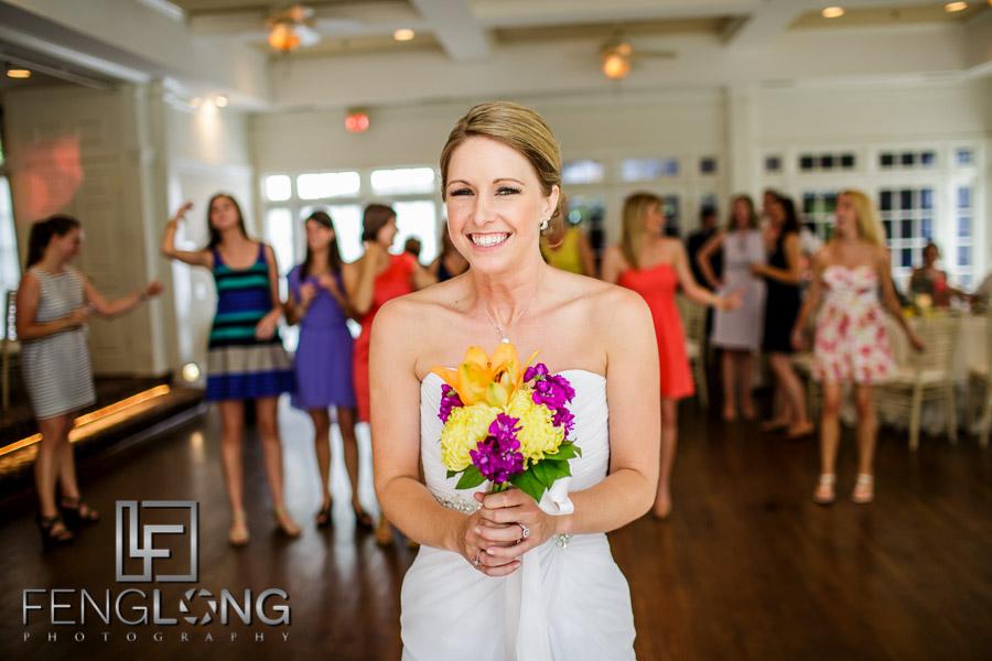 Bride throwing bouquet