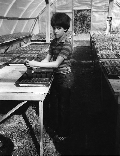 Seth is slavin' away in the greenhouse in Burkeville, TX, 1981/82