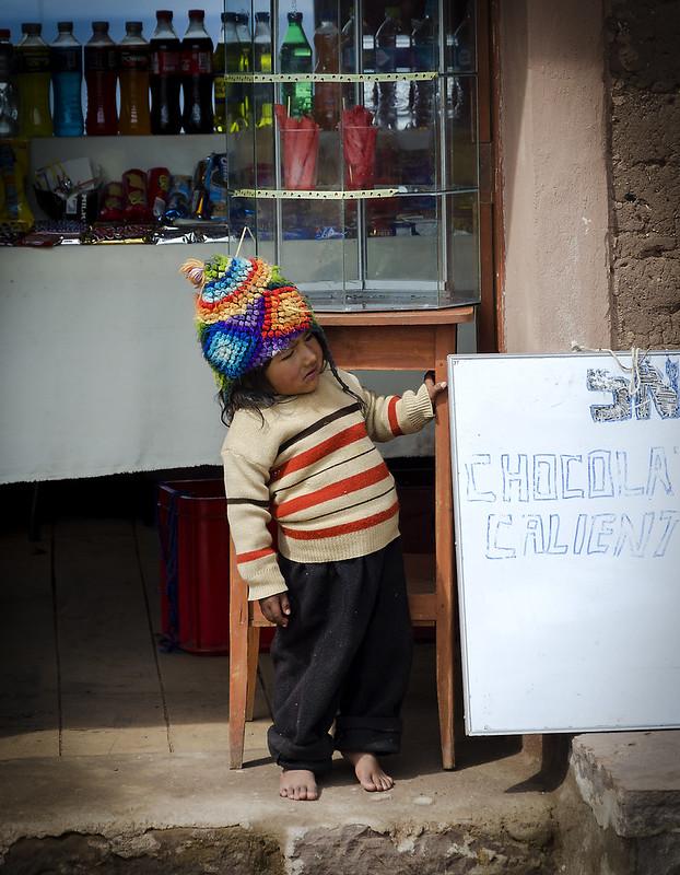 Chocolate caliente, lago Titicaca.