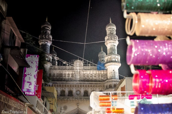 Charminar as seen from lad bazar night market ramazan