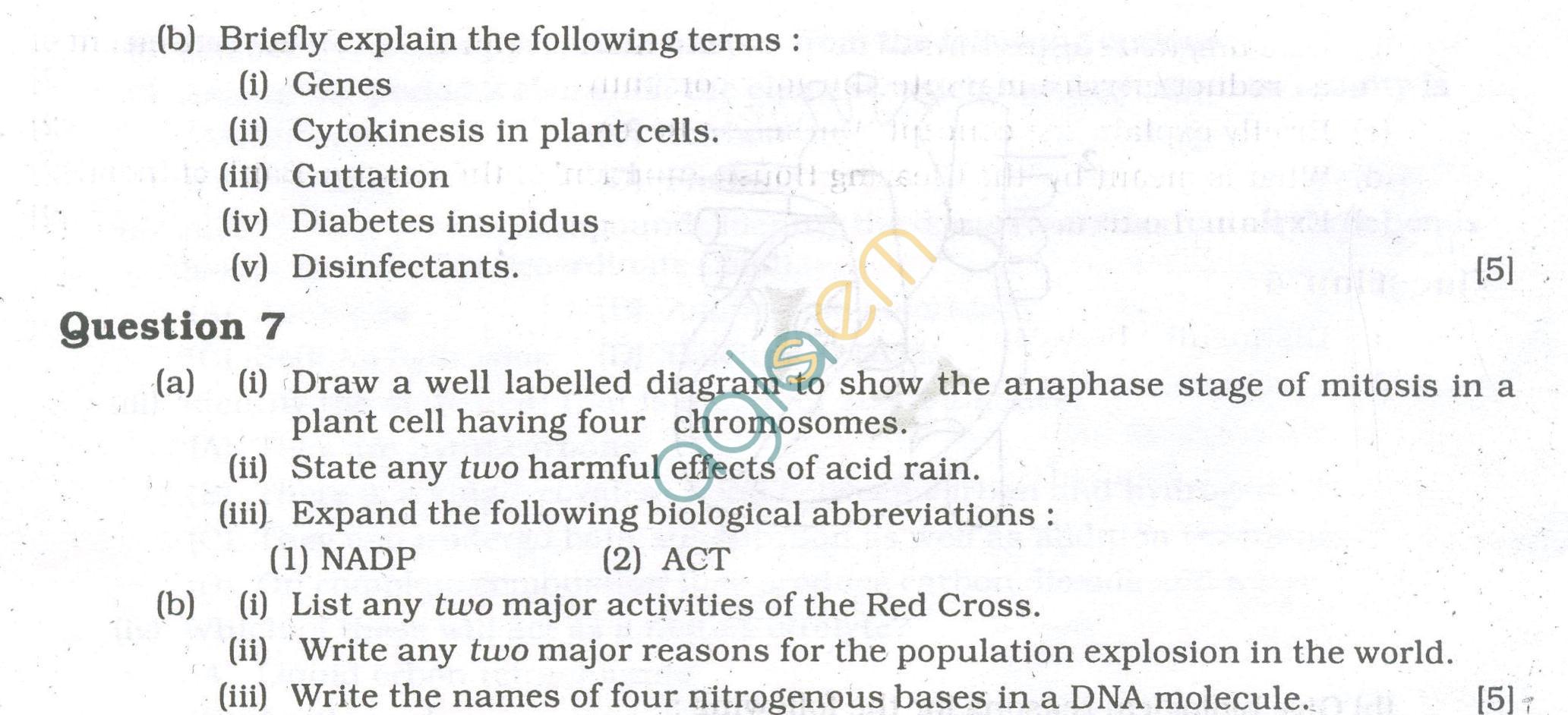 Icse Question Papers For Class 10 Biology Aglasem Schools