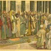 """James Tissot Bible c 1900 The testing of the suitors of the Holy Virgin from """"La Vie de Notre Seigneur Jésus Christ"""