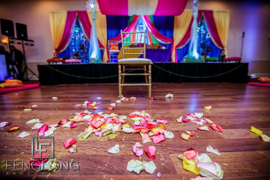Indian wedding details during Dholki night celebration