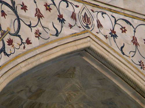 marble wall of the Taj Mahal showing semi-precious stone inlay