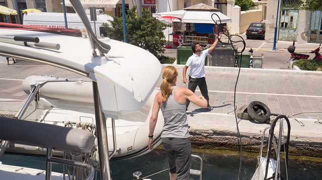 Mooring in Poros with help from Michael