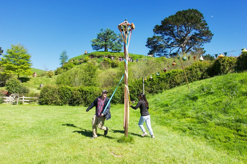 Take a turn at a Maypole dance in the festival area.