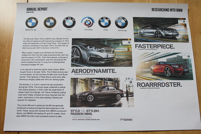 BMW 2013 Annual Report - Research & Development Pages - Student Project by Adam Nelson