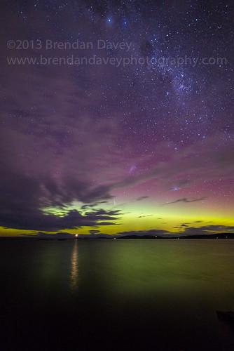 Aurora Australis & Meteor by Brendan Davey
