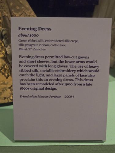 DAR Museum 1900 Evening Dress Remodeled Tag