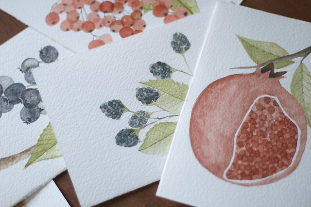 autumn fruits postcards