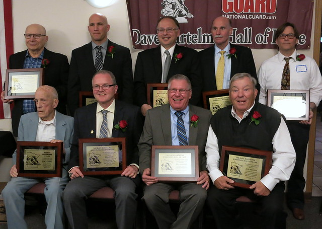 2017 Dave Bartelma Hall of Fame inductees. Front (L-R): Gene Lybbert, Bill Olson, Bill Germann, Russ Holland. Back (L-R): Dick Saxlund, Steve Saxlund, Jim Nunn, Tom Press, and Mark Voyce.