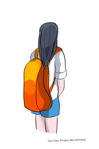 """Orange Backpack"" (#196: Project 365 Sketches)"