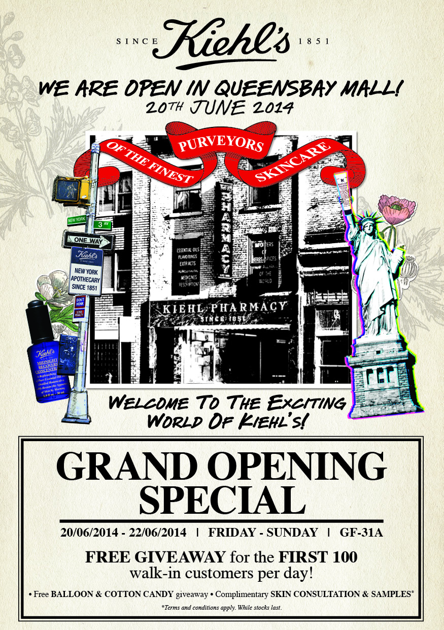 Kiehl's opening at queensbay mall penang