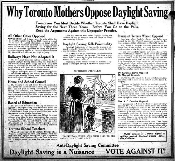 Anti-Daylight Saving Committee - Toronto, Ontario, Canada - 1923