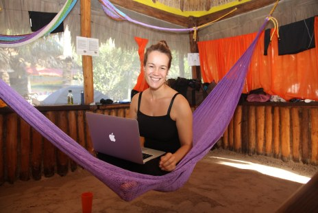 Diana working from hammock on Holbox, Mexico 2013