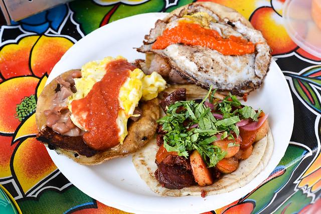 Steak & Egg; Roasted Chile Scramble; Chorizo con Papas