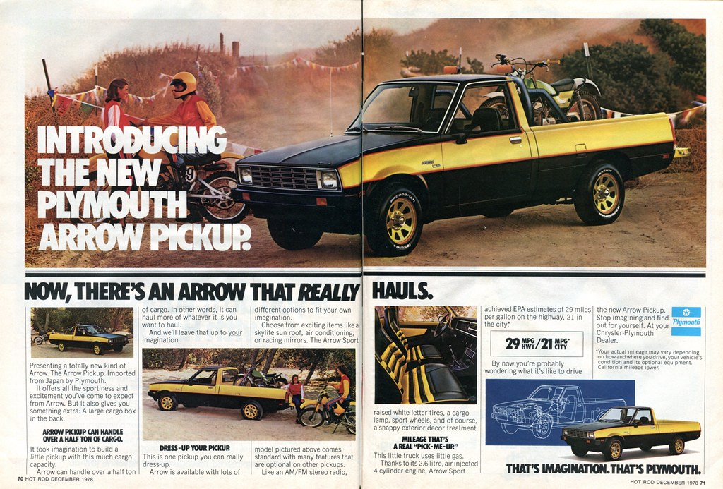 1979 Plymouth Arrow Pickup Truck Advertisement Hot Rod December 1978