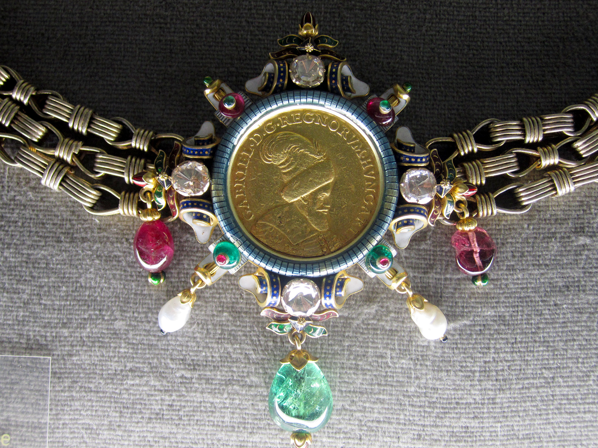 A necklace inside the treasury at the castle.