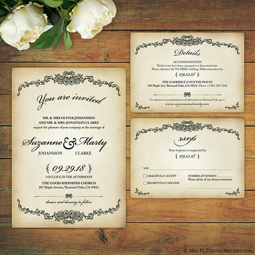 Vintage Victorian style design, high resolution Wedding Invitation, Details and RSVP card template supplied as pdf, put your own text in! http://etsy.me/2pNEQqd #vintage #victorian #wedding #invitation #rsvp #template #mywedding #weddingdesign #loveweddin