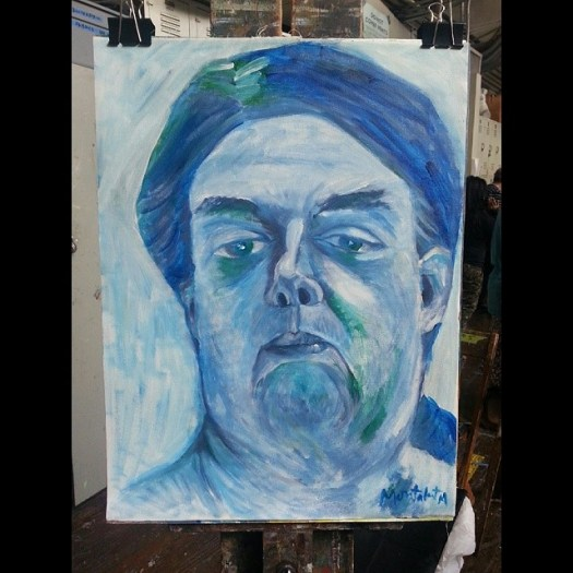 Blue Betty Acrylic on canvas 18x24 inches July 17, 2014  #painting #acrylic #figure #live #female #portrait #studio #artstudentsleagueofnewyork #nyc #art