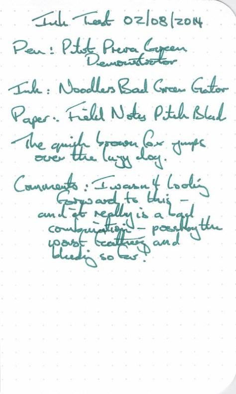 Noodler's Bad Green Gator - Ink Review - Field Notes