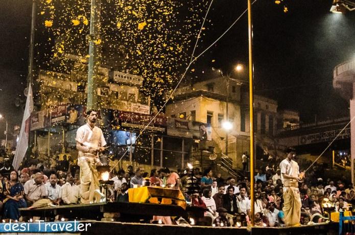 Ganga Aarti Varanasi Flowers offering Dashashwamedh Ghat