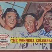 1962 Topps / The Winners Celebrate #237 - Bud Daley (Pitcher) & Hector Lopez (Outfielder) - Autographed Baseball Card (New York Yankees)