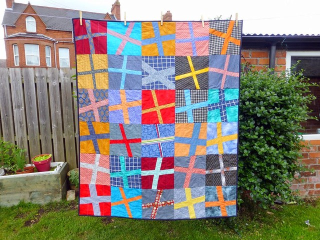 Bee Blessed Wonky Cross quilt made by Shannon