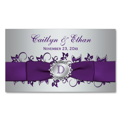 Monogram Purple Silver Floral Wedding Favor Tag Business Card Templates