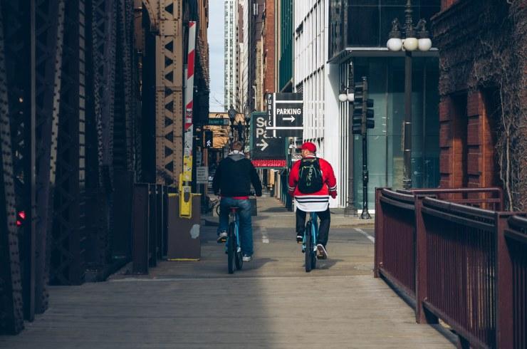 Biking (on the sidewalk)